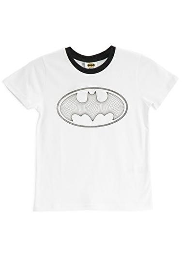 Batman Batman Lisanslı Sarı Erkek Çocuk T-Shirt Beyaz